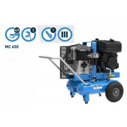 Motocompresor de aire de ruedas traccionado MC 650 motor Lombardini